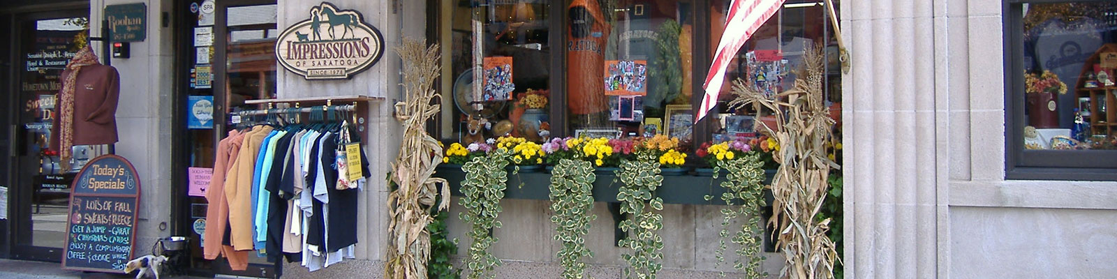 Fall storefront at Impressions of Saratoga